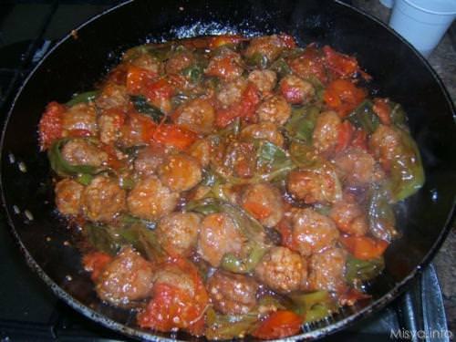 7 cuocere polpette e peperoncini