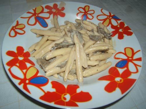 Fusilli in crema di formaggio e funghi porcini