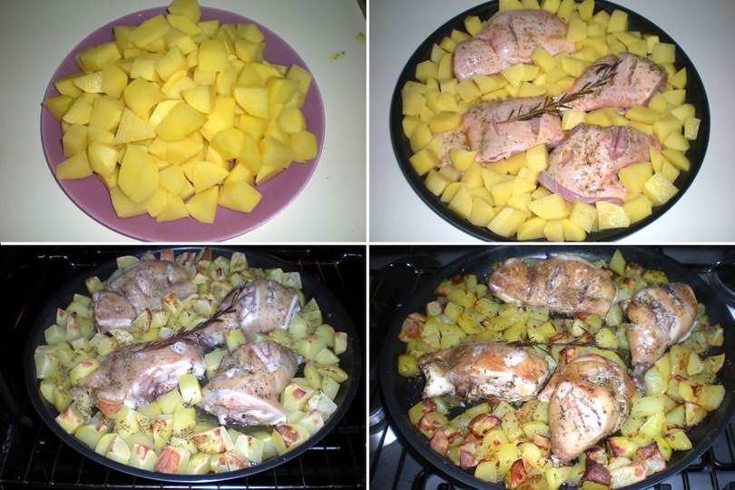 2 aggiungere patate e infornare
