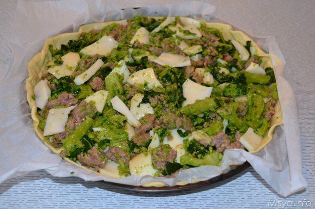 torta salata broccoli e salsice
