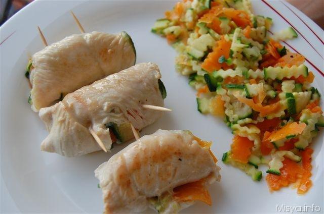 Involtini di pollo con carote e zucchine