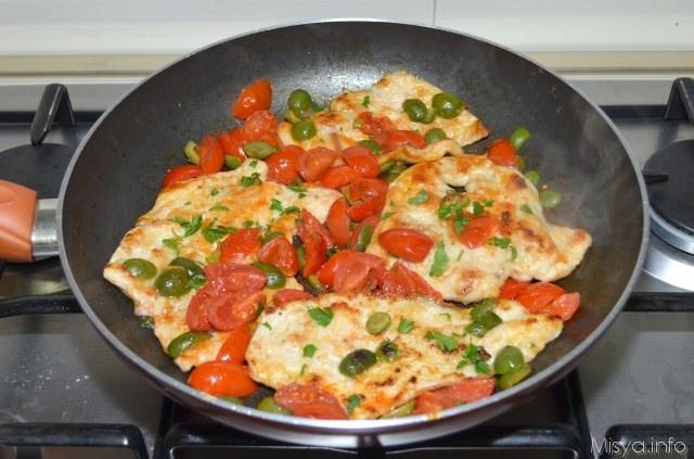 Petto di pollo con pomodorini e olive ricetta petto di - Come cucinare le cosce di pollo in padella ...