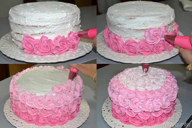 Ombre rose cake 18