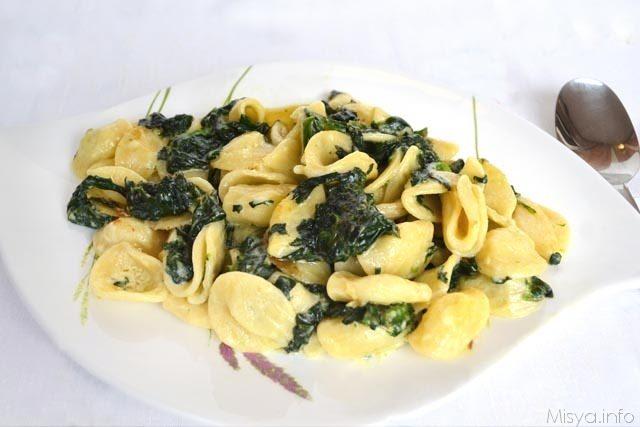 Pasta spinaci e mascarpone