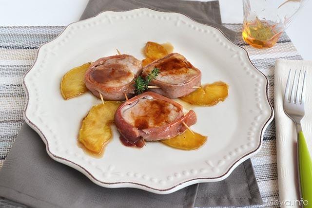 Filetto di maiale con prosciutto e mele