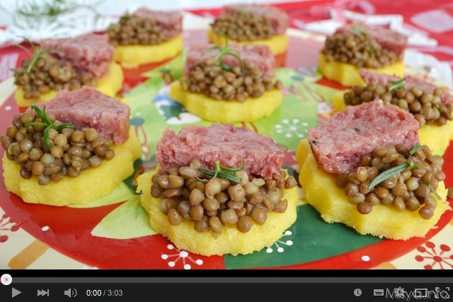 video ricetta tartine di polenta con lenticchie e cotechino