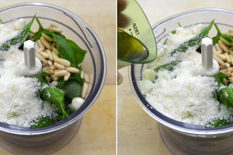 2 basilico pinoli nel mixer