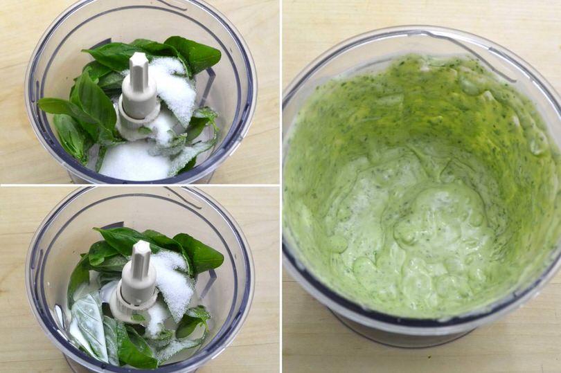 2 frullare basilico e zucchero