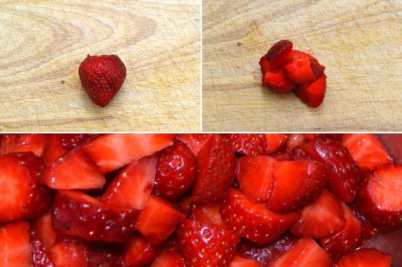 1 pulire e tagliare fragole