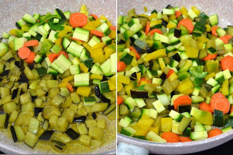 2 aggiungere zucchine melanzane