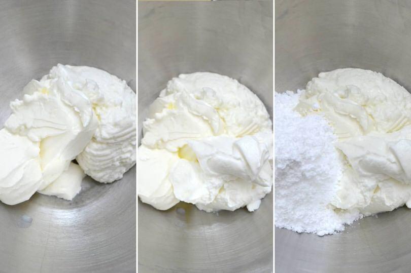 3 ricotta philadelphia zucchero a velo