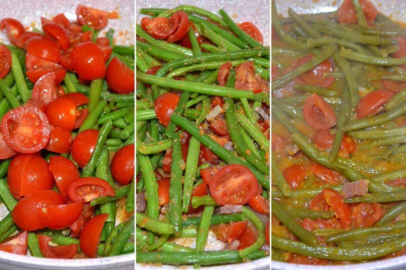 cuocere fagiolini con pomodorini