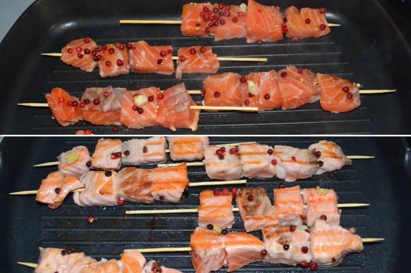 Spiedini di salmone al pepe rosa - Ricetta Spiedini di salmone al ...