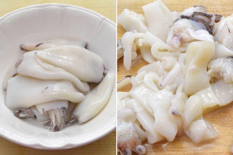 pulire e tagliare i calamari