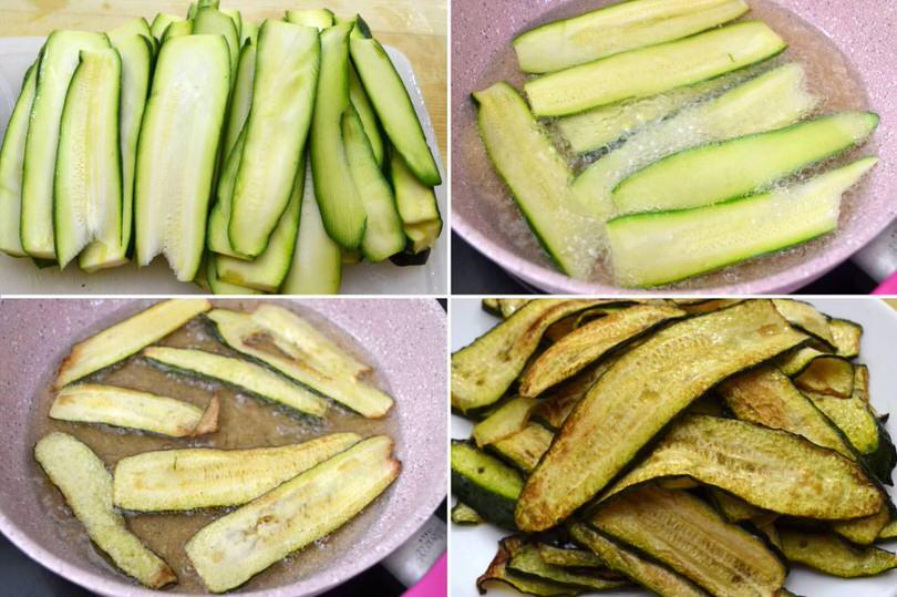 1 tagliare e friggere zucchine