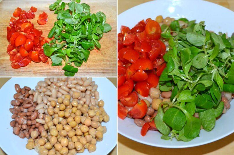 2 aggiungere insalata e pomodorini