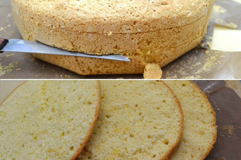 2 tagliare pan di spagna