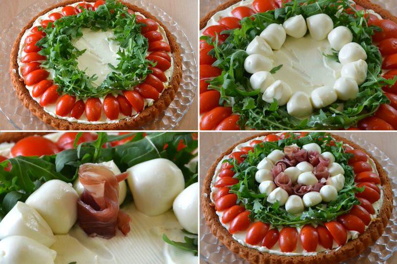 8 aggiungere rucola mozzarelline prosciutto