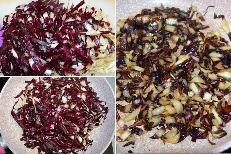 1 tagliare e cuocere radicchio
