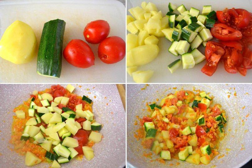 3 tagliare e soffriggere verdure