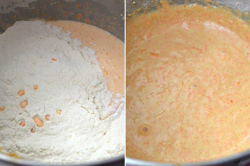 4 aggiungere farina e amalgamare