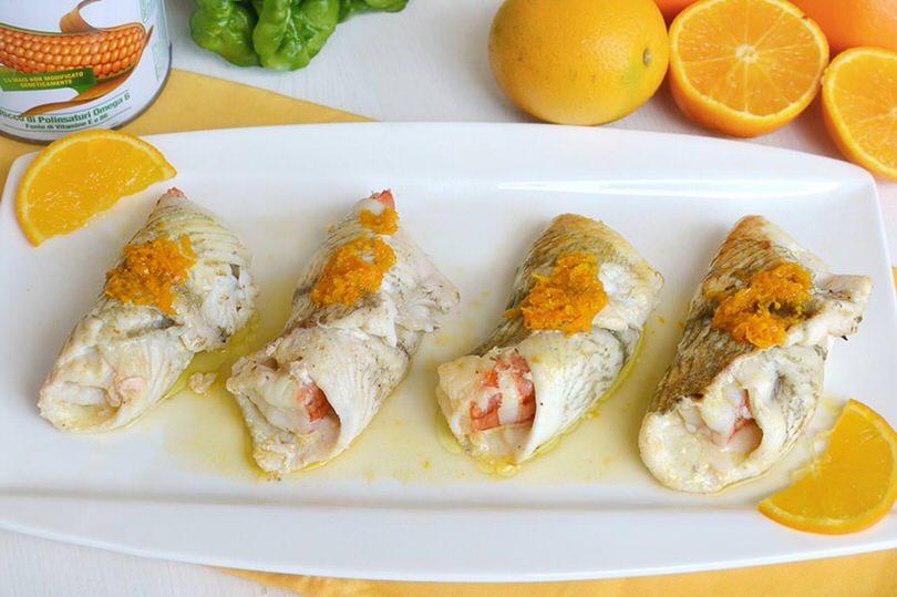 Ricette Secondi piatti Involtini di platessa all'arancia