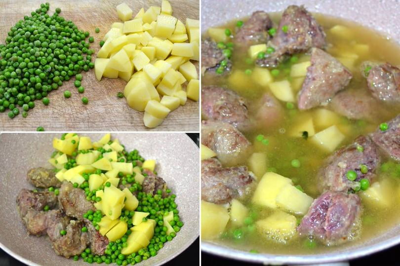3 aggiungere patate e piselli