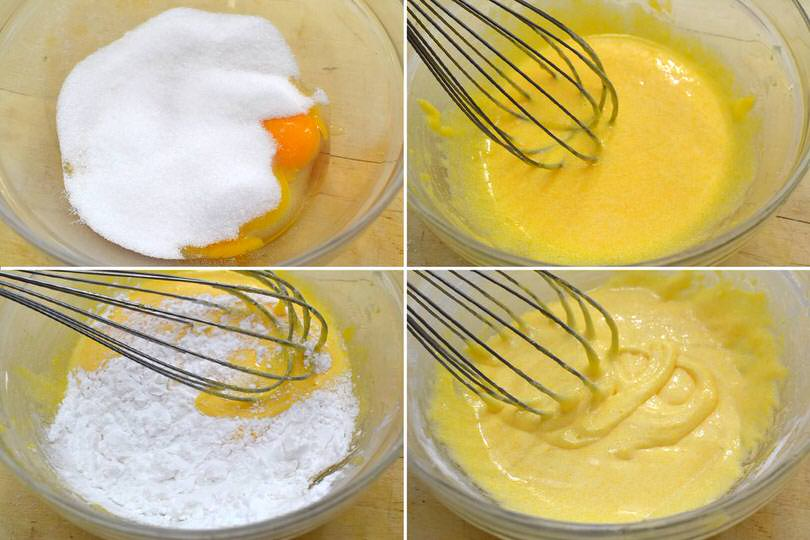 3 uova zucchero farina