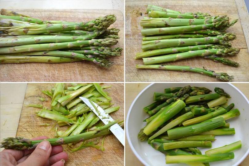1 pulire e tagliare asparagi