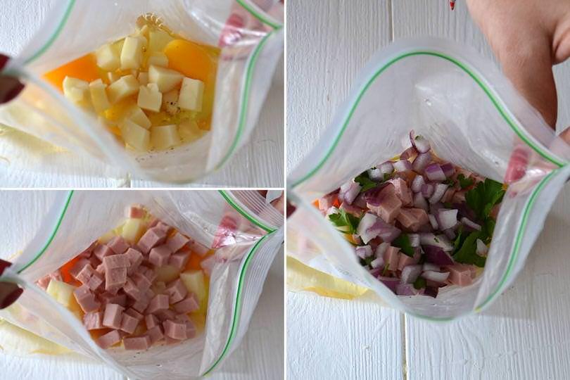 2 aggiungere formaggio prosciutto