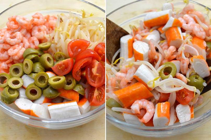 2 aggiungere olive pomodorini