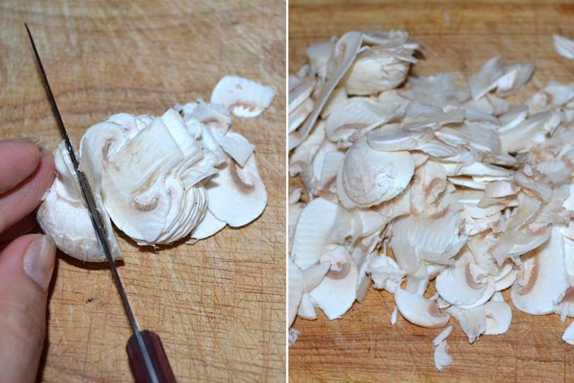 2 tagliare i funghi
