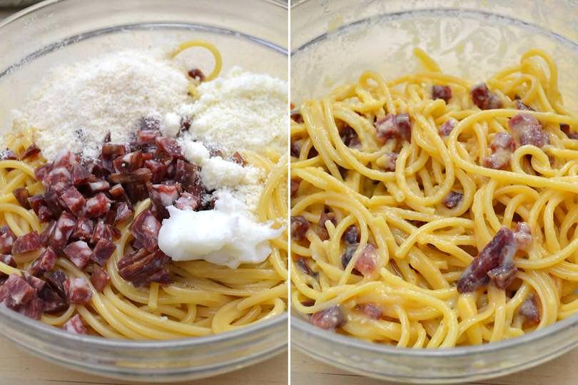 4 aggiungere salame e formaggio