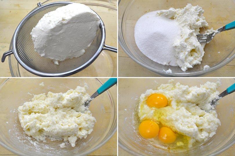 4 ricotta zucchero uova