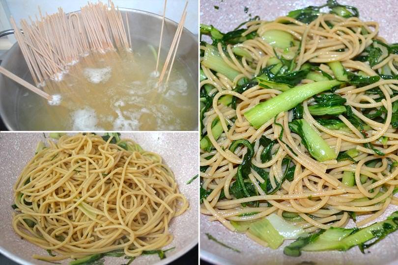 spaghetti e puntarelle
