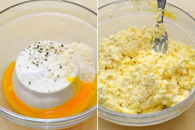 1 amalgamare uova e ricotta
