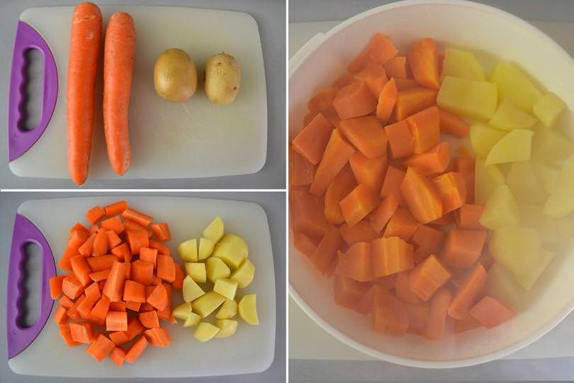 1 tagliare carote e patate