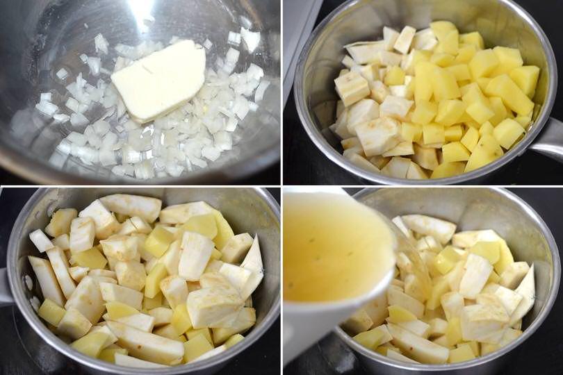 2 cuocere patate e sedano rapa