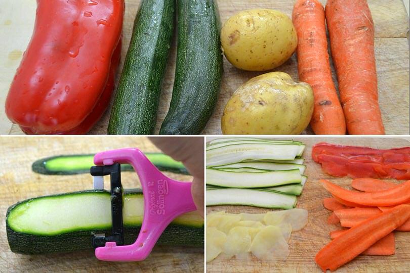 3 pulire e tagliare verdure