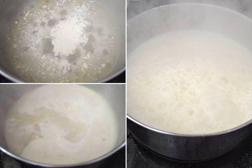 5 aggiungere farina setacciata e panna