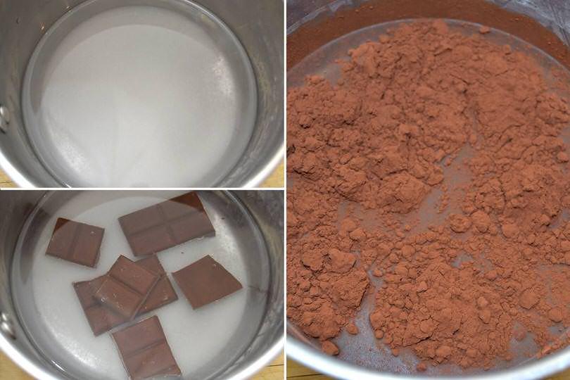 1 acqua zucchero cioccolato