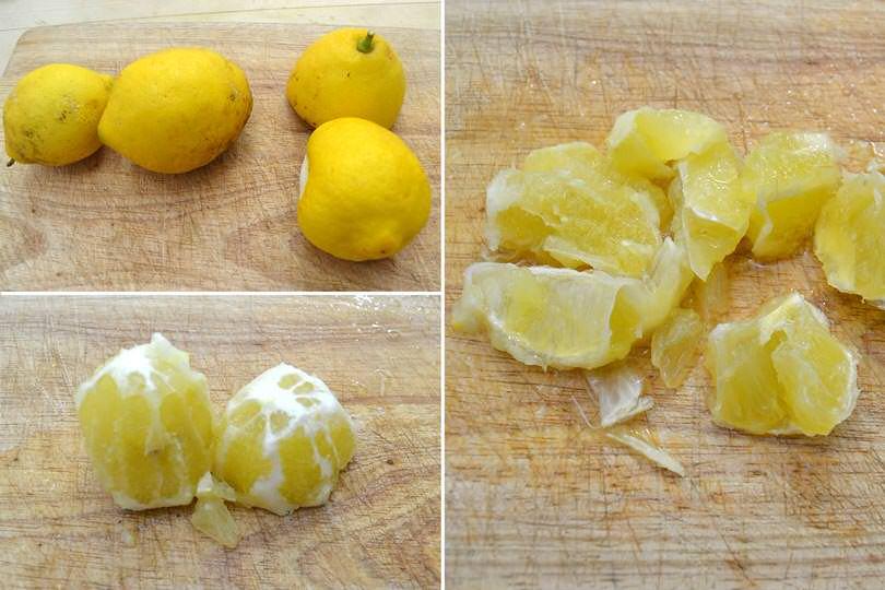 1 pulire e tagliare limoni