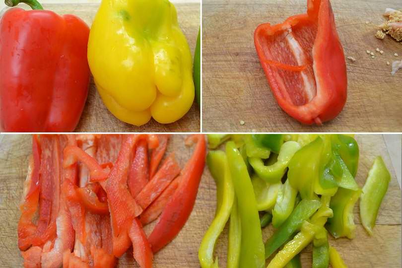 1 pulire e tagliare peperoni