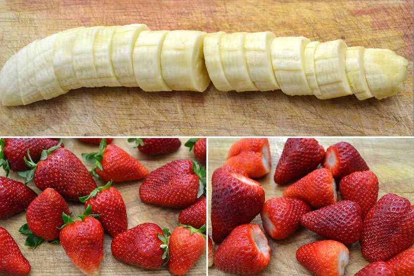 1 tagliare fragole e banane