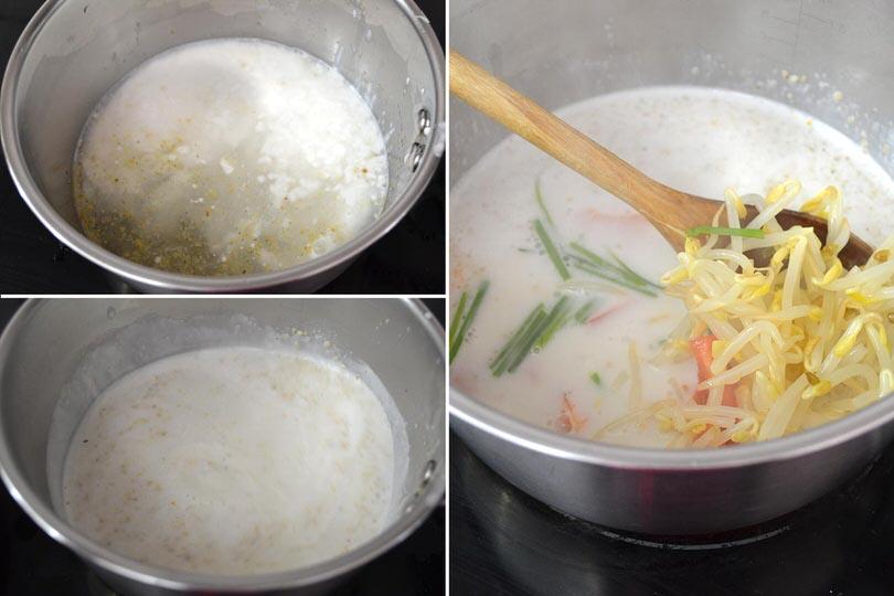 2 bollire latte di cocco