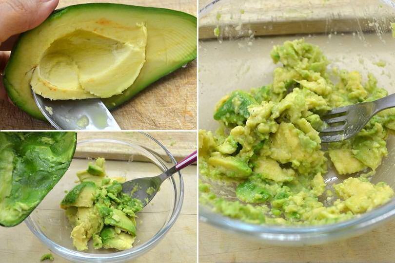 2 schiacciare polpa avocado