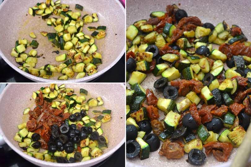 2 zucchine olive pomodori