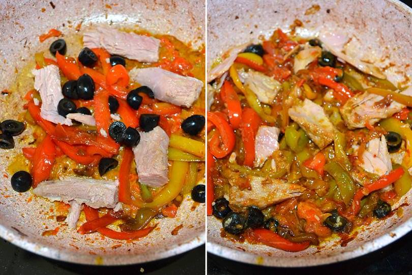4 aggiungere tonno e olive