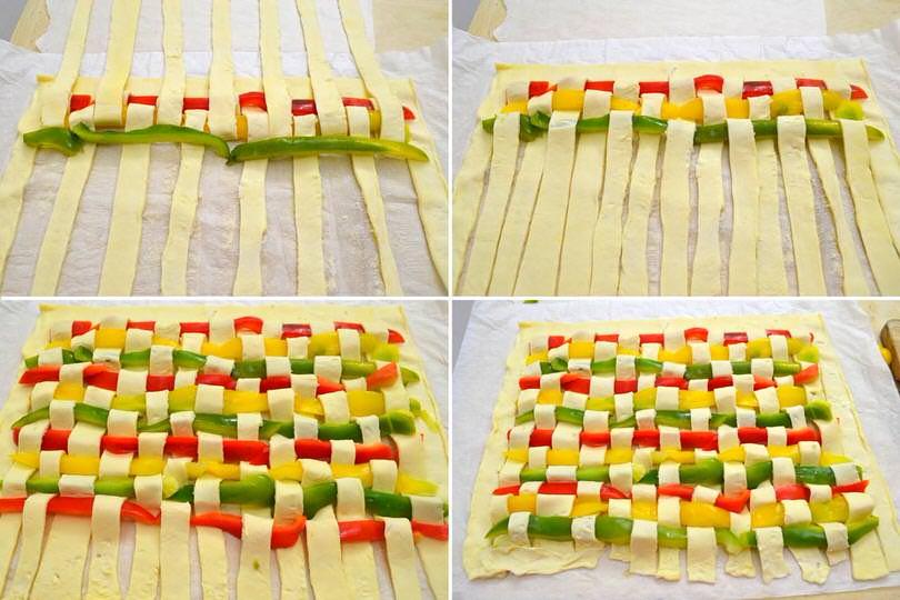4 intrecciare peperoni e pasta sfoglia