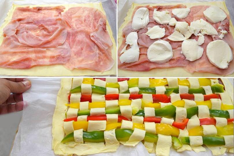 5 aggiungere prosciutto e mozzarella